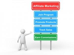 3d man showing affiliate marketing board