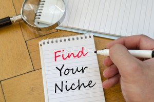 Find your niche text concept write on notebook