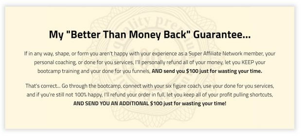Super Affiliate Network refund policy